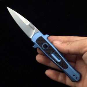 """KERSHAW 7125 lansmanı 12 otomatik katlanır bıçak 2.5 """"Stonewashed CPM-154, siyah anodize alüminyum kolları w / karbon fiber kakma"""