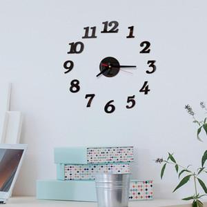 أرقام جديدة الجدار ملصق ووتش 3D DIY الروماني الاكريليك مرآة على مدار الساعة ديكور المنزل الأوروبية ساعة الحائط ملصقات منزل على