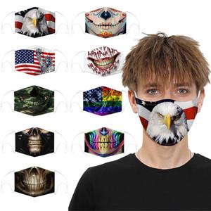 Face Mask Designer Skull Skull Máscaras de Algodão para Homens Mulheres Moda Reusável Esportes Cosplay Halloween Poeira Facemaproof FaceMask