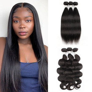 Brasileño peruano Maylasian Silky Sily Strely Hair 3 Bundles 8a Sin procesar Virgin Pure Hair Extension Human Hair Weave Bundles 8-28 pulgadas
