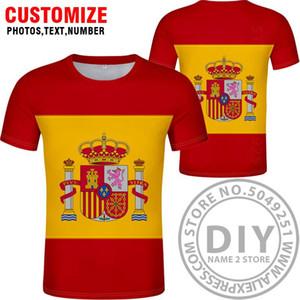 Испания Футболка Diy Free сшитого Имя Номер Esp T Shirt Nation Флаг Es Испанская Страна Колледж фотопечать Логотип Текст Одежда jllYjE