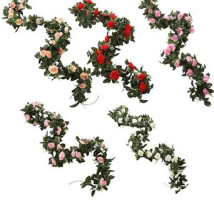 Simulation Rose Flower Vine Wedding Decoration Rattan For Christmas Wedding Decorations Wreath DIY Artificial Flower Rattan