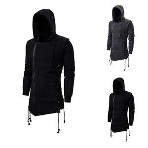 Mens Autumn And Winter Trend Solid Color Hoodies Dark Long Hooded Loose Sweatshirt Coats Male Tops
