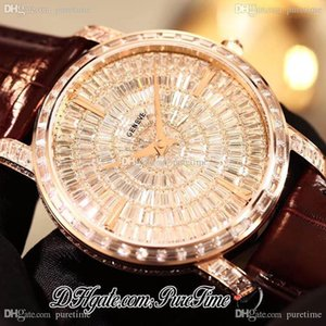 TWF Traditionnelle 82760 000G-9952 Full Paved Diamonds Dial Rose Gold Diamonds M9015 Automatic Mens Watch Brown Leather Puretime PTVC B2