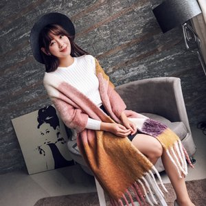 Mingjiebihuo Korean fashion long scarf shawl female autumn and winter new color mixed wild warm thick fringed scarf 201113