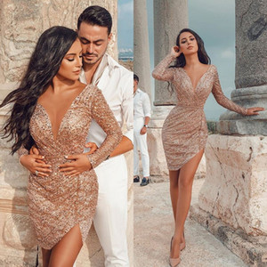 Arabic Deep V Neck Cocktail Dresses Long Sleeves Sequined Mini Prom Dress Party Celebrity Evening Gowns Club Wear