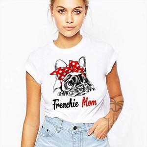 French Bulldog Maman Funny Frenchie Cadeau T-shirt Femmes Harajuku T-shirt de dessin animé à manches courtes Blanc Imprimer chemise mignonne top femme