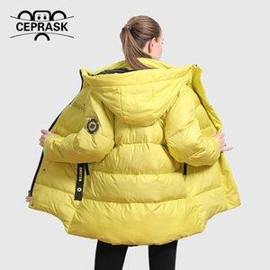 CEPRASK Yeni Kış Ceket Kadınlar Casual Gevşek Kalın Parkas Artı Boyutu Moda Parlak Renkler Kapüşonlu Sıcak Kış Ceket Giyim 201019