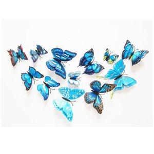 12 unids Multicolor Multicolor Alas de la capa de la mariposa 3D Etiqueta de la pared de la mariposa Imán PVC Butterflies Fiesta Dormitorio Dormitorio Frigorífico Decoración BBYPFJ