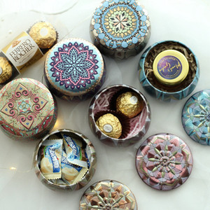 Flower Tea Case Candle Holder Metal Originality Multicolor Candy Box Wedding Ceremony Gifts Storage Boxes CYZ2856 200Pcs