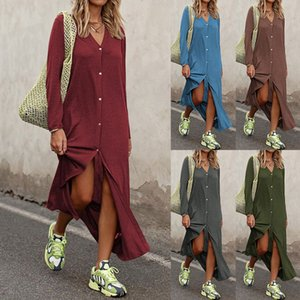 Fashion New Womens Star Casual One-piece Suit V-Neck Long Sleeve Street Style Dresses Loose Shirt Skirt Gift Size S-3XL Dresses