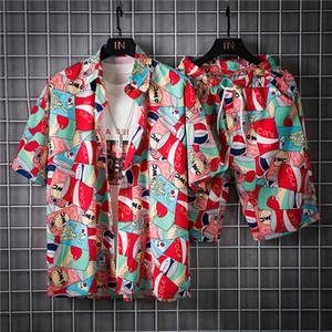 Men Vintage Print Tracksuit Mens Beach Track Suits 2020 Man Hip Hop Flower Sets Male Casual Shorts + Shirts Sweat suits M-5XL Q1110