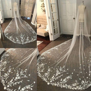 Lace Cathedral Long Bridal Veils Custom Made 300cm Lace Edge Bridal Veil White Ivory Wedding Veils With Comb New Bridal Accessories