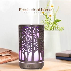 200ML Ultrasonic Air Humidifier Hollow-out aromatherapy Machine USB Wood Grain Aroma Essential Oil Diffuser with 8 Colors LED Light
