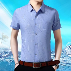 Helisopus New 2020 Men Shirts Summer Polyester Slim Fit Smart Casual Shirts Geometric Print Short Sleeve Turn-down Collar Tops