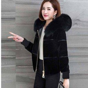 2020 Yeni kadın Kış Koyun Paylaşımı Palto Bayanlar Yüksek Bel Ince Faux Kürk Ceket Kadın Sahte Kürk Kapüşonlu Kısa Ceket