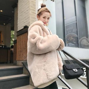 Winter Loose Thickened Warm Hooded Fake faux Fur Coat Plush Artificial Fur Teddy Bear coat Fluffy Jacket For Women
