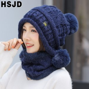 Winter Hats For Women Sequins Knitted Scarf Hat Cute Three Pompom Ear Warm Skullies Beanies Caps Neck Warmer Knit 2 Pieces Set 201009