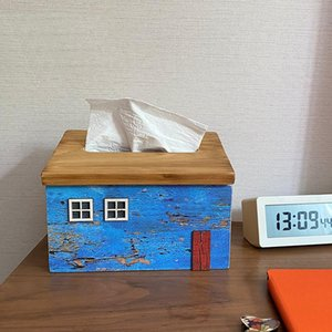 Creative Wooden Old House Shape Office Living Room Decoration Removable Tissue Box