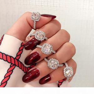 Hot Princess Square Zircon Reines 925 Sterlingsilber-Finger-Ring-Kristall-Stein-Ring-Liebe für immer Frauen Hochzeit Verlobung Schmuck
