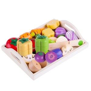 Manyetik Ahşap Meyve Ve Sebze Kombinasyonu Kesme Mutfak Oyuncak Seti Çocuk Oyna Pretend Simulation Playset Çocuklar Eğlenceli LJ201009