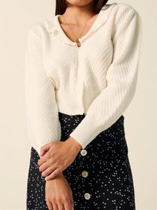 Boutonnage unique Femmes en tricot Cardigan court col V à manches longues Lady Vintage Knitwear vêtements Pull 2020 Early Autumn Top Coat