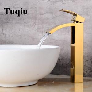 Tuqiu Havza musluk pirinç banyo torneiras para pia de banheiro Altın lavabo Yıkama şelale tek kolu musluk