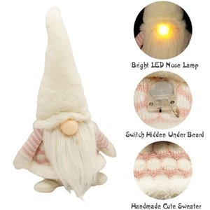 Christmas Swedish Gnome with LED Lighting Nose Plush Doll Kids Gift Home Decor