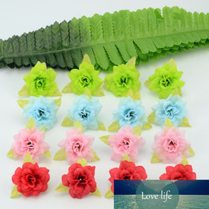 Wholesale-50 Pcs 4cm Handmade Mini Artificial Silk Rose Flowers Heads With Leaves DIY Scrapbooking Flower Kiss Ball For Wedding Decorative