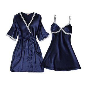 Womens Sexy Ice Silk Half Sleeve Kimono Robe Nightdress Sleepwear Set Flower Lace Pajamas Deep V-Neck Padded Camisole Nightgown
