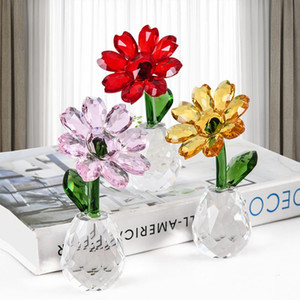 3 Colors Crystal Sunflower Figurines Miniature Glass Craft Flower paperweight Ornament Home Table Decor Wedding Gift