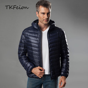Men's Hooded Jackets Light Thin Warm Duck Down Filler Autumn Winter Male Loose Coats Plus Size 4XL 5XL 6XL for Weight:50-145kg 201026