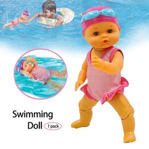 Poupée natation, jouets pour bébé eau électrique, Baignoire Interactive Jouets pour enfants, cadeaux d'été de vacances, cadeaux d'anniversaire pour les enfants