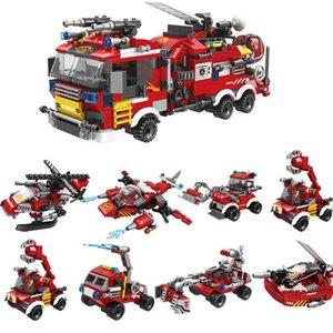 Plastic Diy Cidade Building Block Fire Station Brinquedos e Building Block tijolo de fogo Compatível lutando Truck