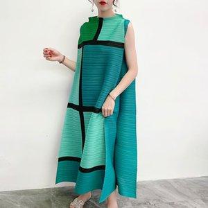 Lanmrem remiendo del bloque del color de los vestidos plisados Famale 2020 verano flojo de gran tamaño sin mangas del collar del soporte del vestido largo de las mujeres Yj237