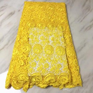 5 ярдов / ПК Топ Продается Желтый Цветок Африканский Водорастворимый Ткань Вышивка Французская Гусиная Кружева для Платье BW160-9