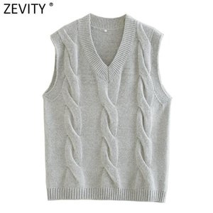 Zevity New Women Fashion V Cuello Twist Twniting Suéter Femenino Chic Unibilito Vestido de ocio Jerseys Casual Streetwear Tops S581