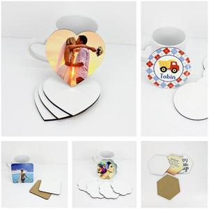 Blank Coasters DIY Sublimation MDF Coupe d'isolation en bois Mat Accessoires de cuisine Tapis Coupe Bar Tasse Tapis de boisson