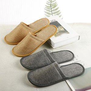 Home Guest Indoor Slippers Men Women Hotel Travel Spa Portable Folding Disposable Supplies Unisex Slippers Summer Linen