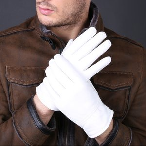 Fashion Special Offer Genuine Leather White Gloves For Women Man Solid Wrist Buttons Female Lambskin Driving Glove 201019