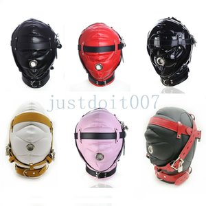 Artificial Leather Sensory Deprivation Binding Cover   Mask Full Head Role Play with Lock AU987