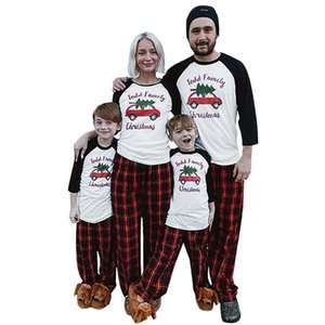 Parent-child Christmas Family Pajamas Xmas Design Matching Long Sleeve Tops Plaid Pants Two Piece Clothing Adults Kids Outfit New E110203