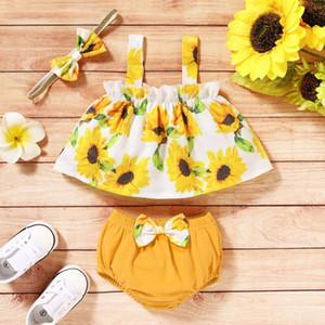 Emmababy 3PCS Yenidoğan Bebek Kız Ayçiçeği Baskılı Ruffles Yelek + Şort + Kafa Kıyafetler Giyim fo2D # Tops