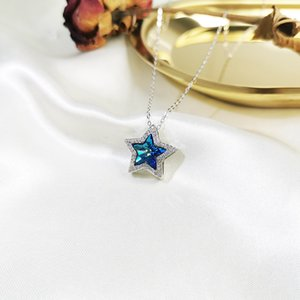 Fashion S925 Sterling Silver Necklace Female Five-Pointed Star Necklace Fashion Austrian Crystal Pendant Clavicle Chain XINGX Set Chain Whol