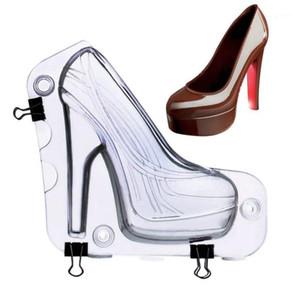 BIG TAMAÑO 3D MOLDO DE CHOCOLATE 3D Zapatos de tacón alto Pastel de caramelo Decoración de la decoración Moldes Herramientas de pastel DIY Hogar Hornear Herramientas de pastelería Lady Shoe Mold1