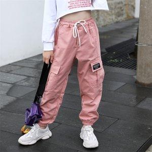 Каждая детская тенденция одежда для девочек многокарманских грузов эластичная талия гарем лето антимоскитная штаны 201207