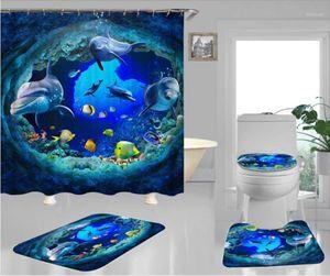 4pcs / 세트 샤워 커튼 방수 폴리 에스터 패브릭 목욕 커튼 동물 인쇄 만화 3D 목욕 욕실 액세서리 1