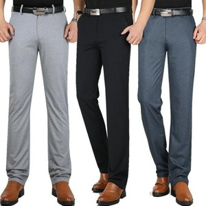 New Summer Men's Knitted Casual Pants Straight Slim Trousers Slacks High Waist Middle-aged Dress Pants Elastic Thin Business1