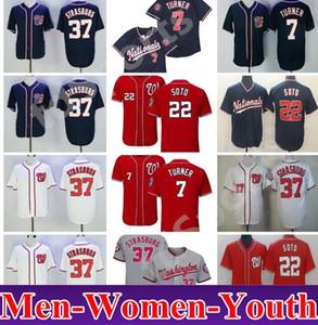 2018 Nacionais Estilo Baseball 7 Trea Turner Jersey 22 Juan Soto 37 Stephen Estrasburgo Cool Base Vermelho Branco Branco Marinha Costura Disconto Barato