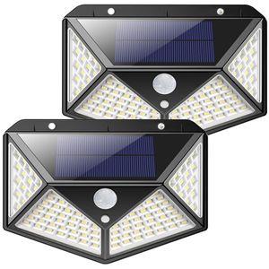 Energy-saving lamps factory wholesale 50PCS Box New 100 LED Solar Motion Sensor Wall Lamp 600 Lumen Outdoor Garden solar security wall light